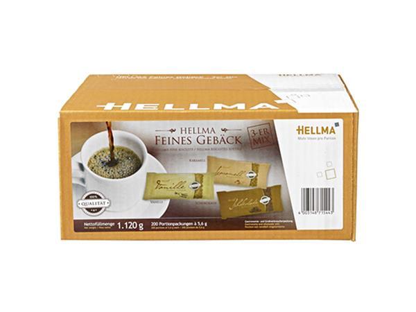 Koekjes Hellma mix trio: chocolade, karamel en vanille 200stuks